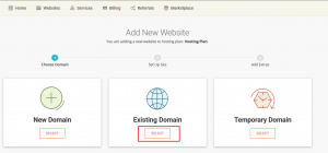 click on existing domain