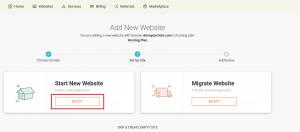 click on start new website