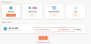 enter wordpress admin email address and password